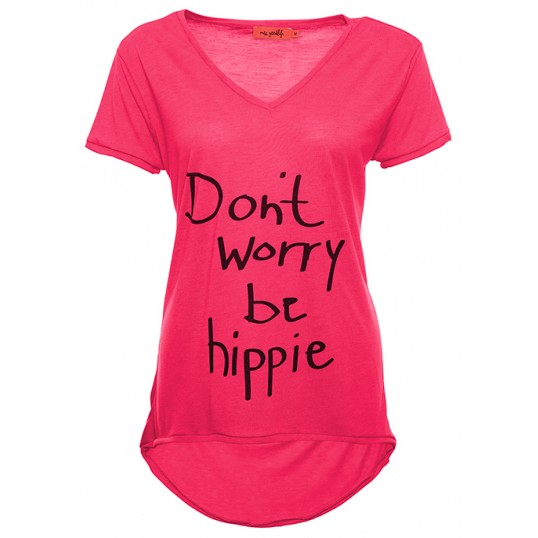 T-Shirt 'Dont Worry Be Hippie' Pink