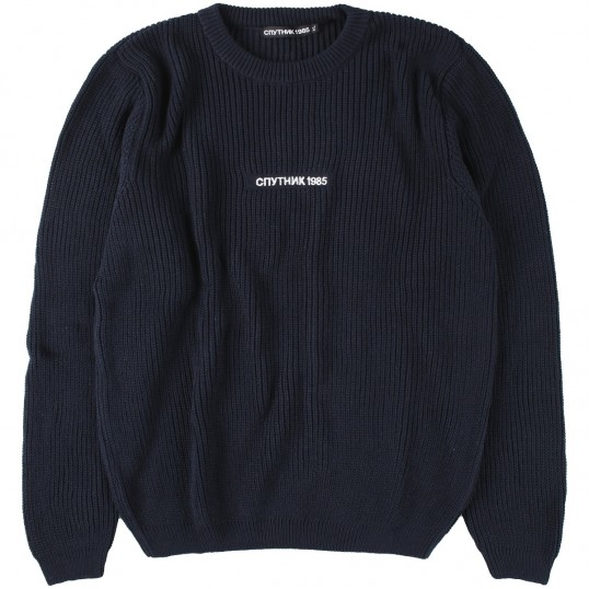 Knitted Sweater 'SPUTNIK1985 Logo' Navy
