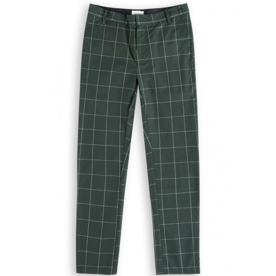 Temple Checked Trousers Dark Green