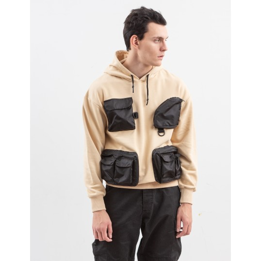 Technical Hoodie 4 Pockets Sand