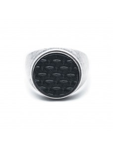 Opposite Ring Grid Silver-Black