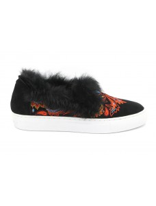 Slip-On Sneakers 'Burke' mit Fellfutter Multi-Schwarz